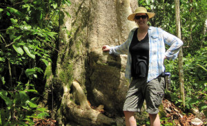 Trisha Jackson, assistant professor of geography, showcases a large tree in the central Amazon rain forest.