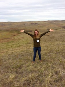 Kaitlyn Abrahamson celebrates the open spaces at the Center for American Indian Research and Native Studies near Martin.