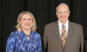 Molly Enz, left, was honored at the 2015 Celebration of Faculty Excellence. Enz received the Edward Patrick Hogan Teaching Excellence. She is joined in the photo by Hogan.