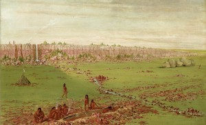 """""""Pipestone Quarry on the Coteau des Prairies 1837-1837"""" by George Catlin, oil on canvas. Smithsonian American Art Museum Gift of Mrs. Joseph Harrison, Jr."""