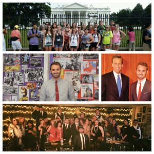 Fitz '12 has been busy following graduation. Clockwise, from top, he organized a trip to Washington, D.C., for Sioux Falls Roosevelt High School students in 2014, served as an intern for Sen. John Thune, posed with students in periodic attire during one of his classes and stands in front of a board in his classroom. Fitz credits his time at State to make him a passionate and dedicated teacher.